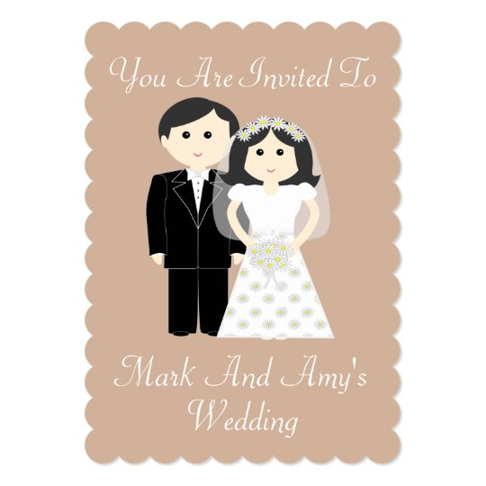 Bride And Groom 2 Wedding 5x7 Invitation Scalloped