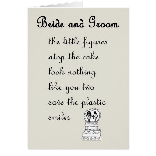 Wedding Day Poems For Bride: Bride And Groom - A Funny Wedding Poem Greeting Card