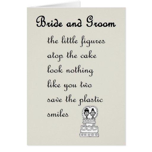 Bride And Groom - A Funny Wedding Poem Greeting Card