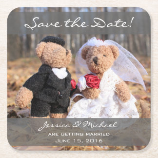 Bride and Groom Bears Save the Date Square Paper Coaster