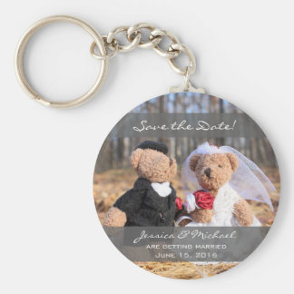 Bride and Groom Bears Wedding Save the Date Basic Round Button Keychain