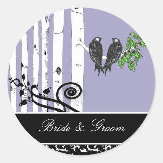 Bride and Groom Birch Tree Vintage Birds Sticker