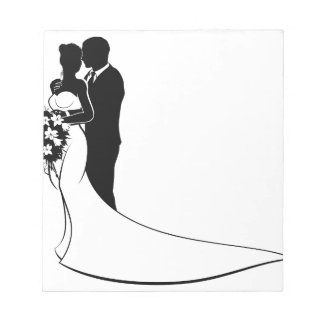Bride and Groom Bouquet Wedding Silhouette Notepad