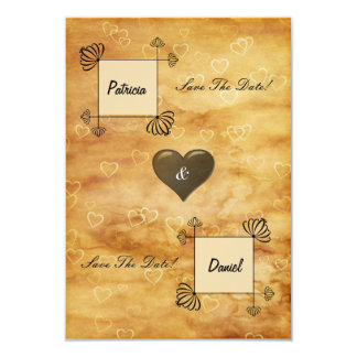 """Bride and Groom Boxes, Scroll work on Hearts 3.5"""" X 5"""" Invitation Card"""