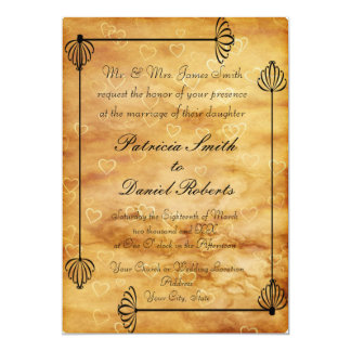 """Bride and Groom Boxes, Scroll work on Hearts 5"""" X 7"""" Invitation Card"""