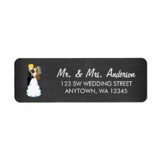 Bride and Groom Chalkboard Return Address Label