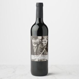 Bride and Groom Couple Photo Wedding Wine Label