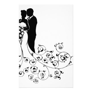 Bride and Groom Couple Wedding Silhouette Abstract Personalized Stationery