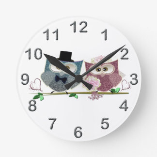 Bride and Groom cute Owls Art Wallclock