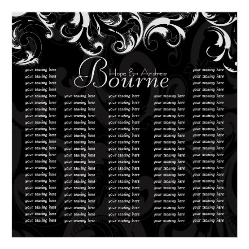 Bride and Groom Damask Seating Chart for Reception Posters