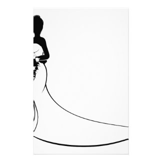 Bride and Groom Flowers Wedding Silhouette Stationery