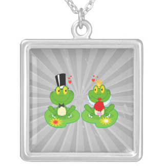 bride and groom froggy frogs silver plated necklace