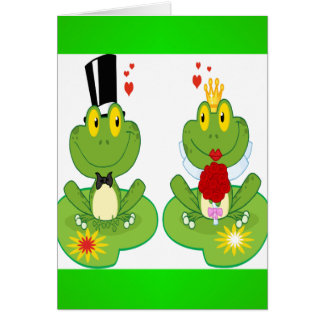 Bride and Groom Frogs Card