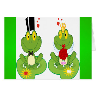 Bride and Groom Frogs Greeting Card