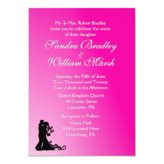 "Bride and Groom Fuchsia 4.5"" X 6.25"" Invitation Card"
