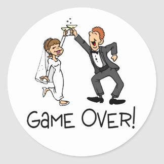 Bride and Groom Game Over Classic Round Sticker