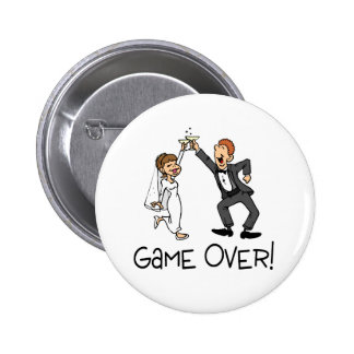 Bride and Groom Game Over Pinback Button