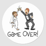 Bride and Groom Game Over Round Sticker