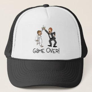 Bride and Groom Game Over Wedding Trucker Hat
