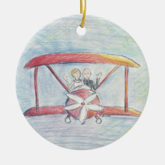 Bride and Groom in Airplane Ceramic Ornament