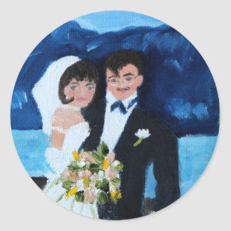 Bride and Groom in France Classic Round Sticker