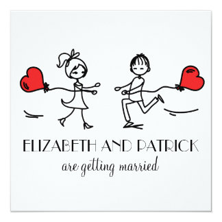 Bride and Groom In Love Doodles Wedding Invitation