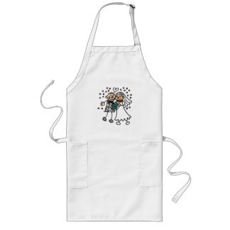 Bride and Groom Jump for Joy Long Apron