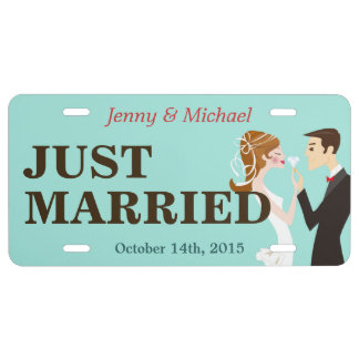 Bride and Groom Just Married Decorative Wedding License Plate