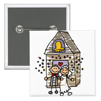 Bride and Groom Leave Church 2 Inch Square Button
