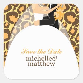 Bride and Groom Leopard Print Wedding Square Sticker