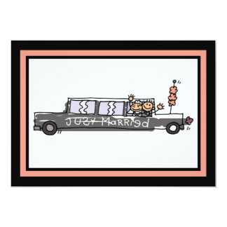 Bride and Groom Limo Elopement Announcement