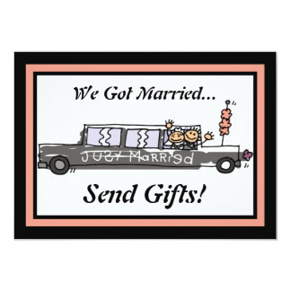 Bride and Groom Limo Elopement / Reception Custom Announcements
