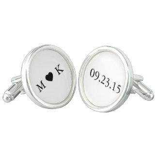 Bride and Groom Monogram - Simple Elegant Wedding Cuff Links