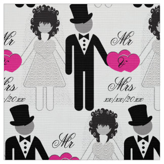 Bride and Groom Mr and Mrs Fabric