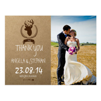 Bride and groom on a field/deer theme postcard