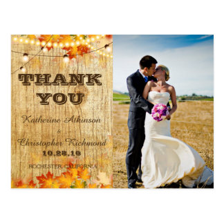 Bride and groom on a field/fall theme postcard