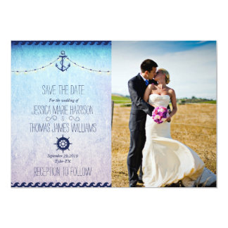 Bride and groom on a field/nautic theme card