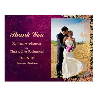 Bride and groom on a field/purple vintage postcard