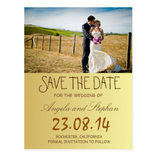 Bride and groom on a field/Save The Date Postcard
