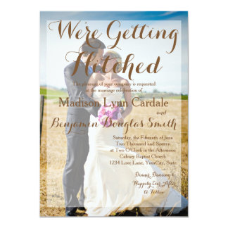 Bride and groom on a field/Wedding Invitation