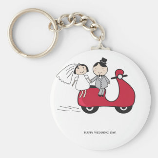 Bride and groom on the red scooter. Wedding card Basic Round Button Keychain