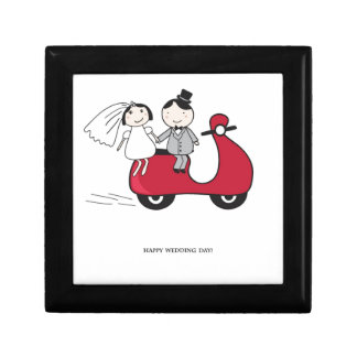 Bride and groom on the red scooter. Wedding card Gift Box