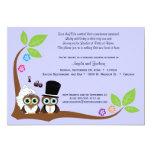 "Bride And Groom Owls Lavender Background Shower 5"" X 7"" Invitation Card"
