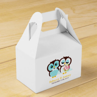 Bride and Groom Owls Wedding Favor Boxes