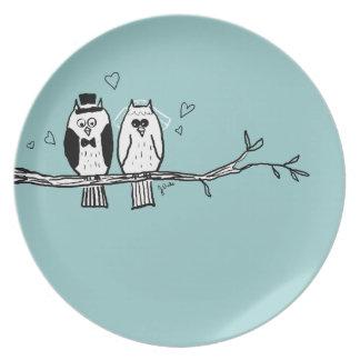 Bride and Groom Owls Wedding Plates