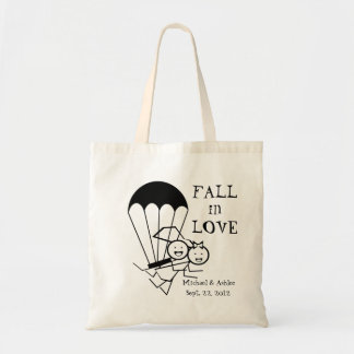 Bride and Groom Parachuters Tote Bag