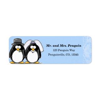 Bride and Groom Penguin return address labels