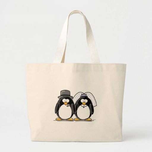 Bride and Groom Penguins Canvas Bag