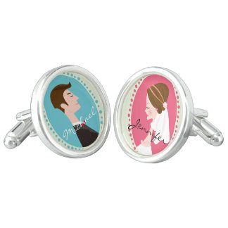 Bride and Groom - Personalized Wedding Cufflinks