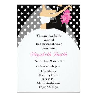 "Bride and Groom Polka Dots Bridal Shower 5"" X 7"" Invitation Card"